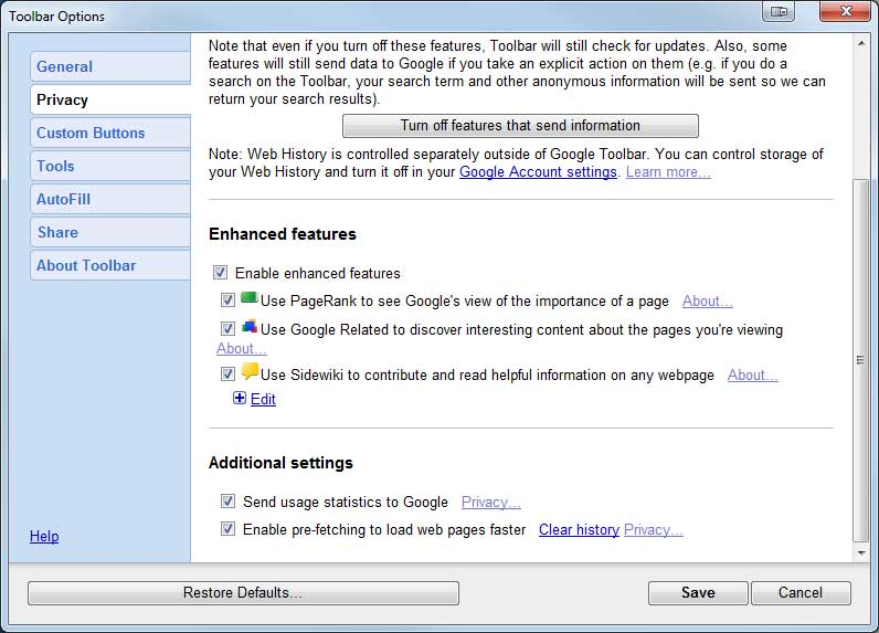 toolbar options Enabling Google Pagerank in Internet Explorer (where is it?)