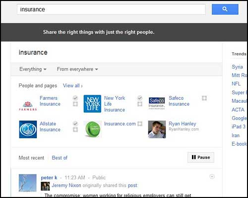 insurance Google+: Business savviness   Joining the Ranks of Search Opportunity